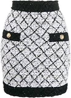 Balmain Women's SF14218K470GAB White Viscose Skirt