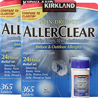 Kirkland Signature Non Drowsy Allerclear Loratadine Tablets, Antihistamine, 10mg, 365-Count - Pack of 2