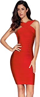 Women's Rayon Front Cross Cocktail Bandage Bodycon Dress
