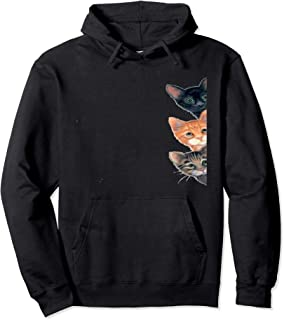 Peeping Curious Cats,Peering Kittens Funny gift Peek-a-boo   Pullover Hoodie