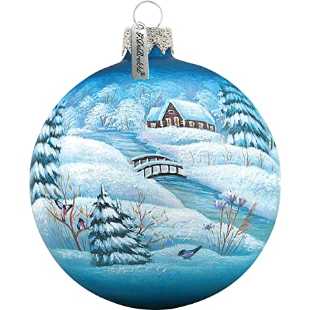 G Debrekht Winter Village Glass Ball Ornament 3 5 Home Kitchen