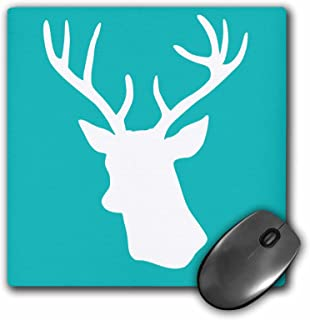 3dRose 8 X 8 X 0.25 Deer Stag Head Silhouette On Turquoise Aqua Blue Teal Contemporary Modern Stylish Minimalistic Mouse Pad (mp_112844_1)