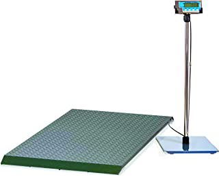 Brecknell PS2000 Floor Scale, 2,000 Capacity, LCD Screen, Portable, Versatile, Rugged Steel with Tread Plate Surface