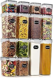 Wildone Airtight Food Storage Containers - BPA Free Cereal & Dry Food Storage Containers Set of 14 for Sugar, Flour, Snac...