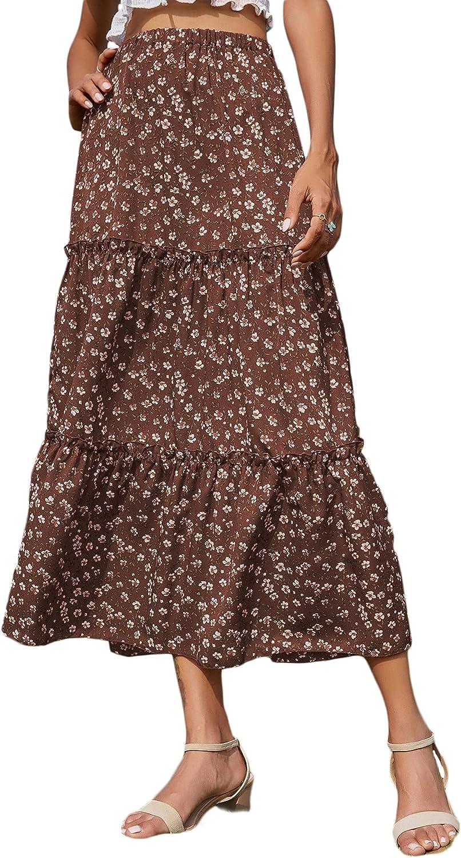 Milumia Women's Boho Floral Print Elastic Waist Long Skirt A Line Tiered Flowy Skirt