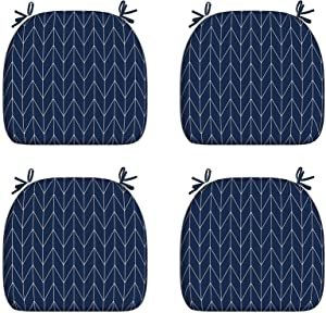 """LVTXIII Outdoor/Indoor Seat Cushions Patio Chair Pads with Ties, Fade-Resistant Chair Cushions for Home Office and Patio Garden Furniture Decoration 16""""x17"""", Resort Stripe Navy, Set of 4"""