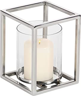 15 3//4 Inches 4.13 Rustic White Rubbed Wood Tray WHW Whole House Worlds Crosby Centerpiece Votive Candle Holder Tray Set Peachy Pink and Silver Reflective Glass 6 Piece Set Plus Clear Stones Included