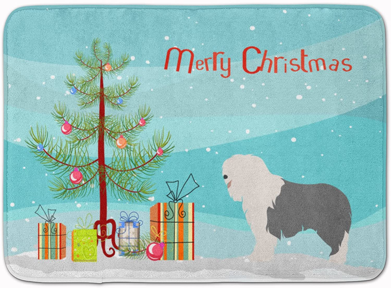 Caroline's Treasures Old English Sheepdog Christmas Floor Mat, 19hx27w, Multicolor