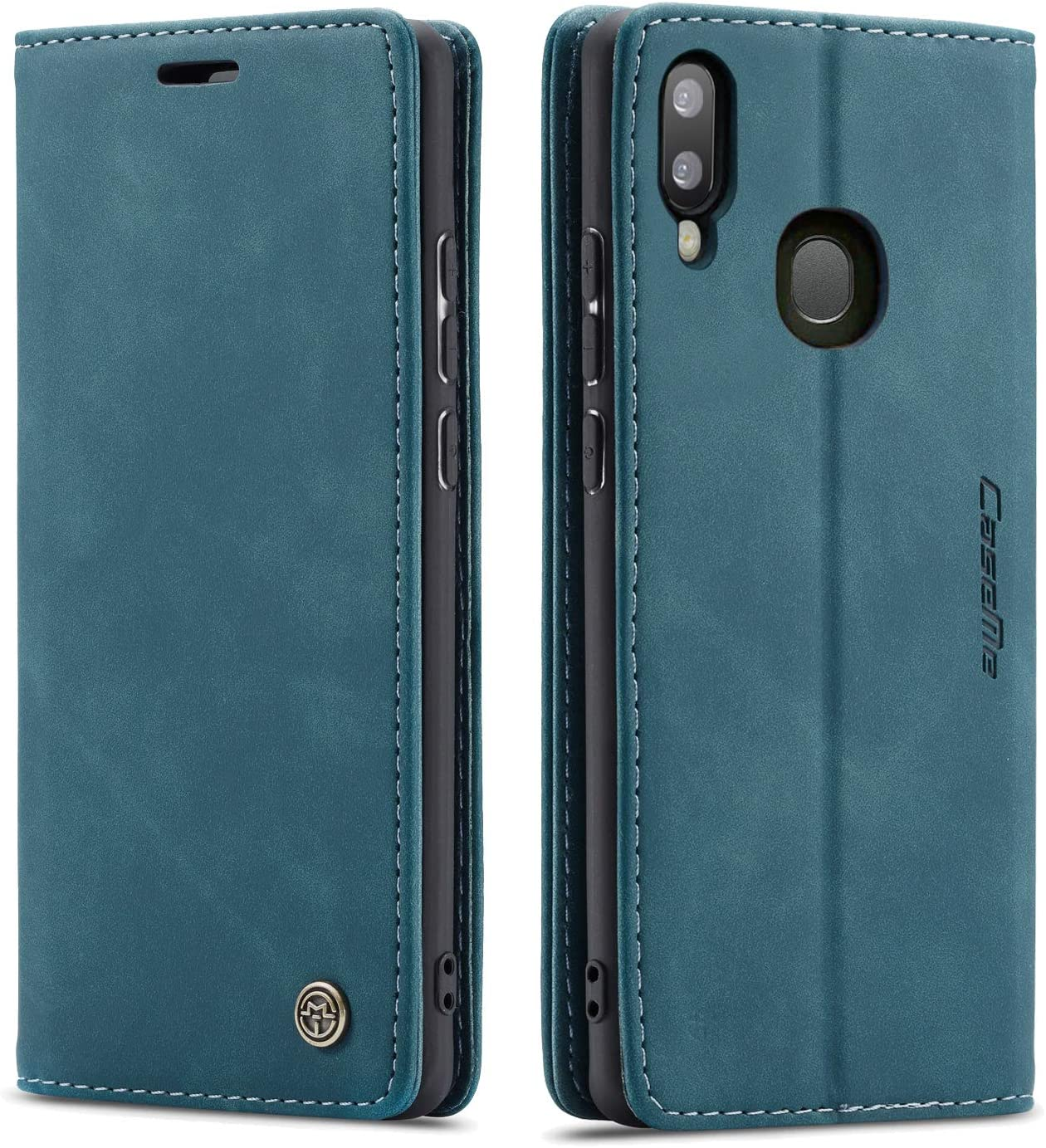 Galaxy A20 Case,Galaxy A30 Case,Bpowe Leather Wallet Case Classic Design with Card Slot and Magnetic Closure Flip Fold Case for Samsung Galaxy A20/Galaxy A30 (Blue)