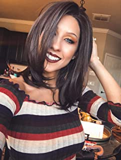 Imstyle Bob Lace Front Wigs Short Brown Wigs Natural Straight Synthetic Lace Wig For Women With Realistic Hairline Shoulder Length Heat Resistant Hair 14 inch