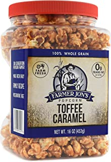 Farmer Jon's Toffee Caramel Popcorn, 16oz Jar of Gourmet Popped Popcorn