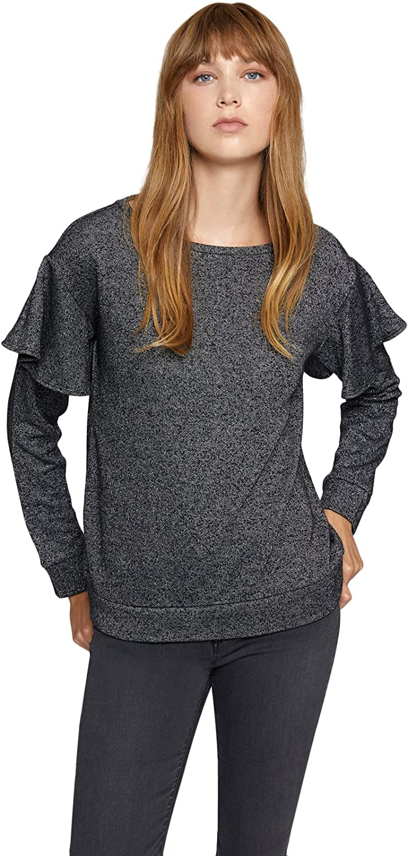 Sanctuary Clothing Women's Ruffled Metallic Sweatshirt
