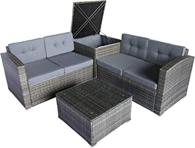 Leisure Zone 4 PCS Outdoor Cushioned PE Rattan Wicker Sectional Sofa Set Garden Patio Furniture Set (Grey Cushions)