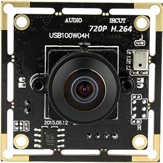 ELP 100万画素 ウェブカメラマイク内蔵 WEBカメラ USB 広角 H.264 30FPS HD UVC対応 ウェブカメラ 170度魚眼レンズ 720P USBカメラモジュール pc カメラ パソコンマイクカメラ プラグ&プレイ Wind...