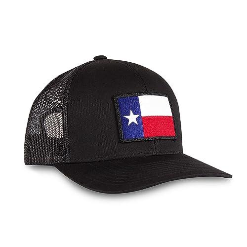 41bed58b Haka Hat Texas State Flag Patch Baseball Cap - Black Trucker Mesh Snapback