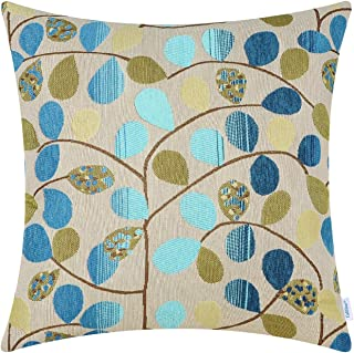 CaliTime Cushion Cover Throw Pillow Case Shell for Couch Sofa Home Decoration Luxury Chenille Cute Leaves Both Sides 16 X 16 Inches Ecru Blue