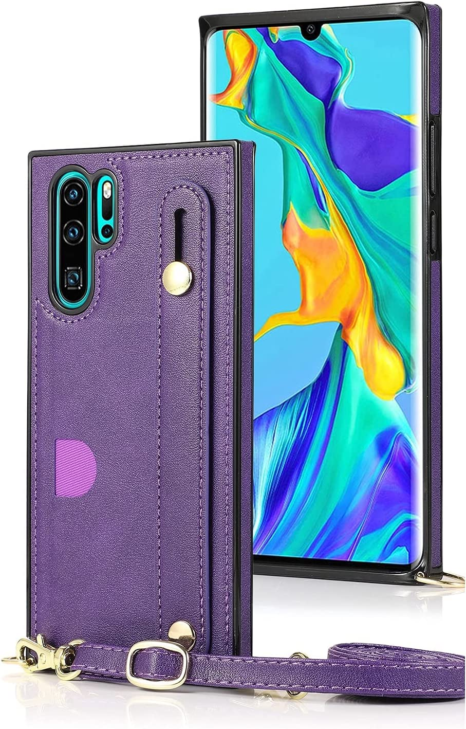 SLDiann Case for Huawei P30 Pro, Leather Case with Credit Card Slot Non-Slip Buckle Holder/Crossbody Long Lanyard, Shockproof Leather TPU Case Cover for Huawei P30 PRO (Color : Purple)