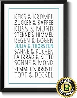 DU & ICH Bild mit Namen personalisiert optional mit Holz-Rahmen Geschenk Geschenkidee Verliebte Paare beste Freunde Freund-in