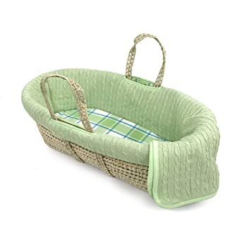 Tadpoles Deluxe Cable Knit Moses Basket and Bedding Set, Green