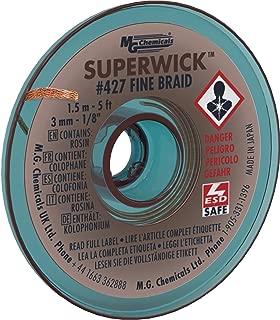 MG Chemicals Desoldering Braid #5 Fine Braid Super Wick with RMA Flux, 5' Length x 0.125