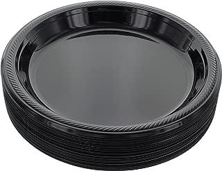 Amcrate Black Disposable Plastic Party Plates 10.4