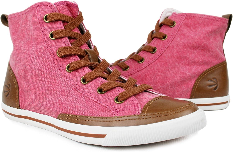 Burnetie Women's High Top Vintage Cotton Sneaker Crimson