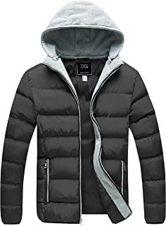 Mens Winter Coat Thicken Puffer Jacket Removable Hooded Quilted Jacket