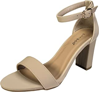233738106e53 BAMBOO Women s Single Band Mid Chunky Heel Sandal with Ankle Strap