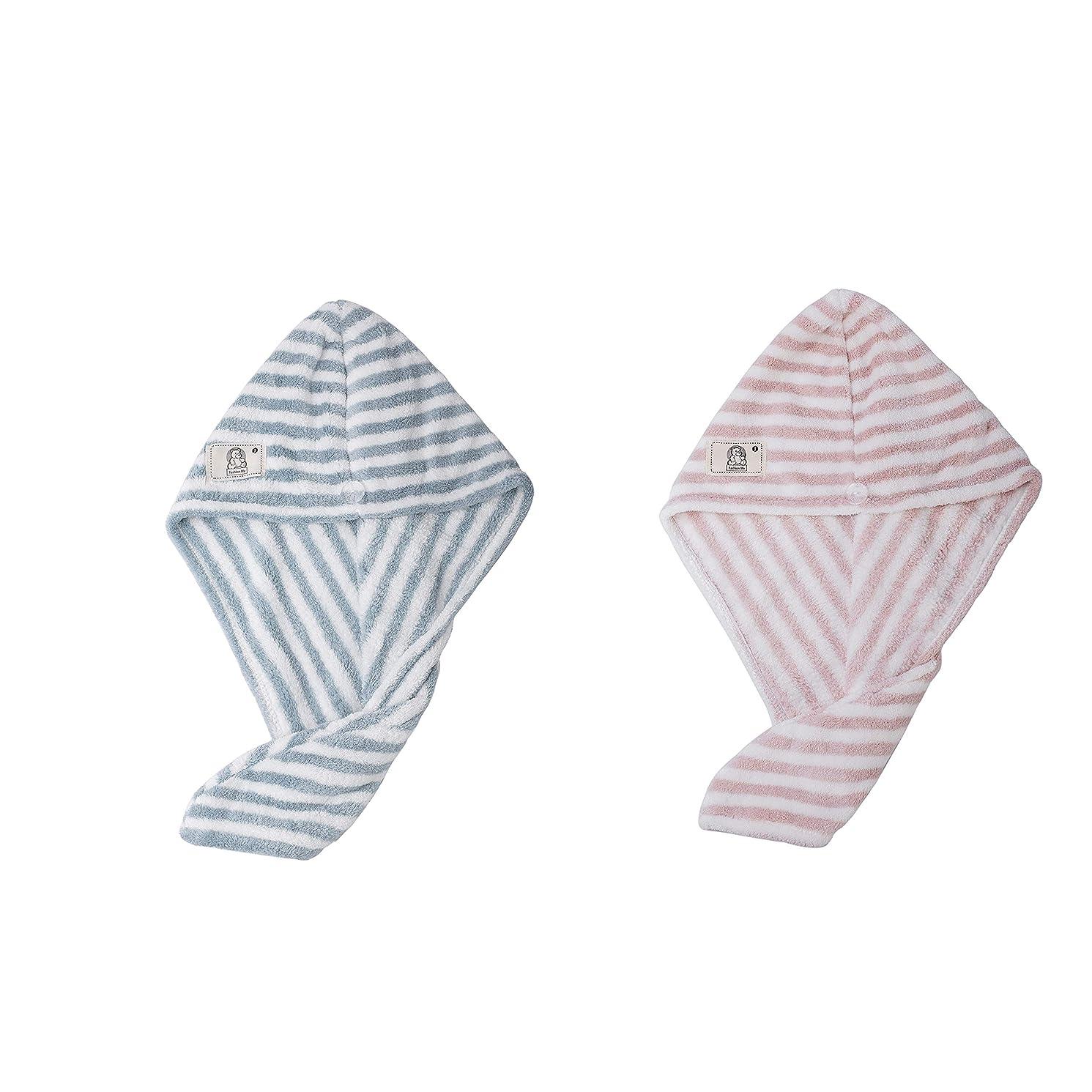 定規飲食店牛ヘアドライタオル 2色2枚セット 強い吸水性 速乾 抗菌防臭 シャワーキャップ タオルキャップ マイクロファイバー ふわふわ 人気 ストライプ 格安 アウトレット まとめ買い(Blue&Pink)