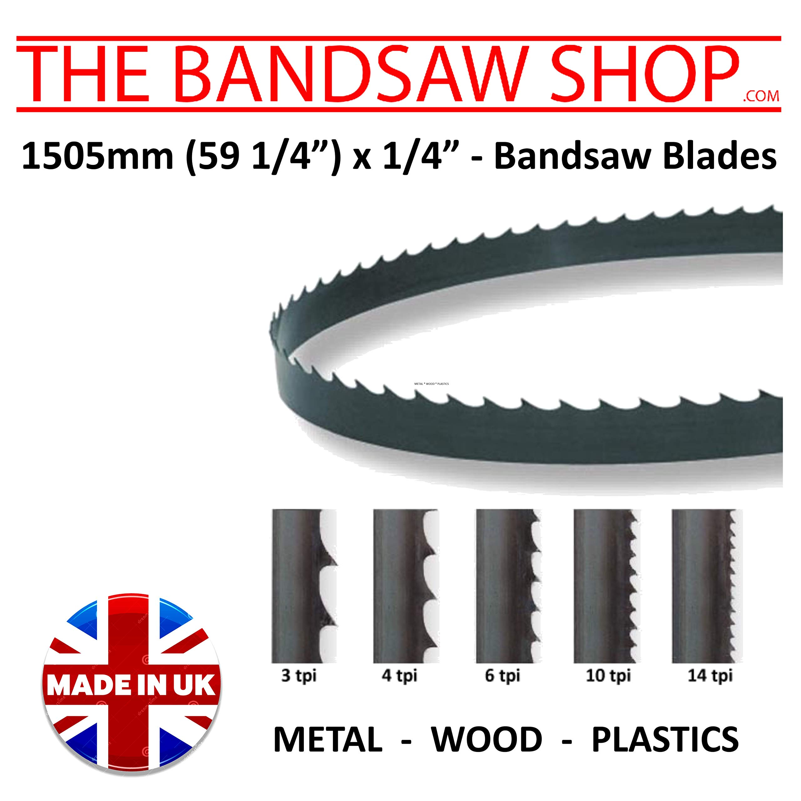 BANDSAW BLADES  1505mm 59 1//4 inch 1//2 inch wide 6 TPI for CUTTING PLASTIC WOOD