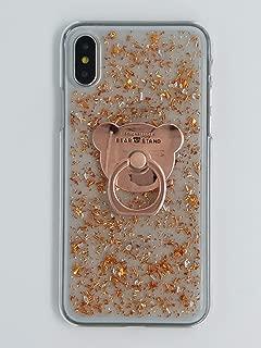 crystal_phonecase Bear Finger Ring Holder Glitter Handmade Gold Leaf Flakes Clear Case for Samsung Galaxy S5 S6 S6Edge S7 S7Edge S8 S8Plus S9 S9Plus Note3458 (Rose Gold, Samsung Galaxy S8)