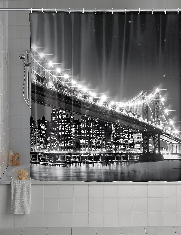 LED Wenko Duschvorhang 180x200 cm Usedom Badewannenvorhang Bad Dusche Vorhang