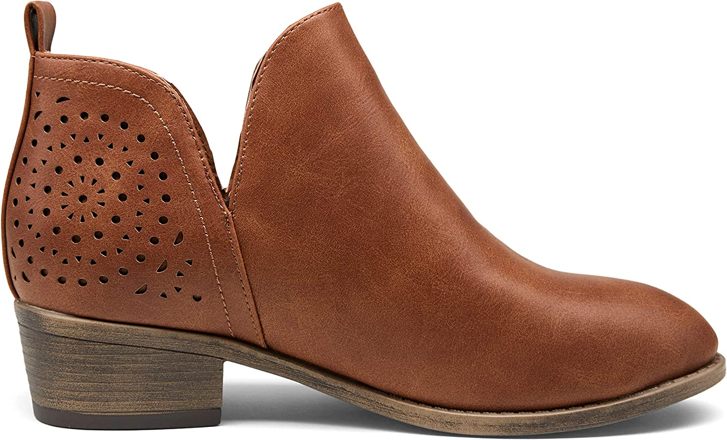 VEPOSE Women's Ankle Boots Low Cutout Heels Latest Finally resale start item Perfo Chunky Booties