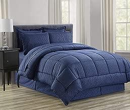 Luxury Bed-in-a-Bag Comforter Set on Amazon! Elegant Comfort Wrinkle Resistant - Silky Soft Beautiful Design Complete Bed-in-a-Bag 8-Piece Comforter Set -Hypoallergenic- Full/Queen, Navy Blue