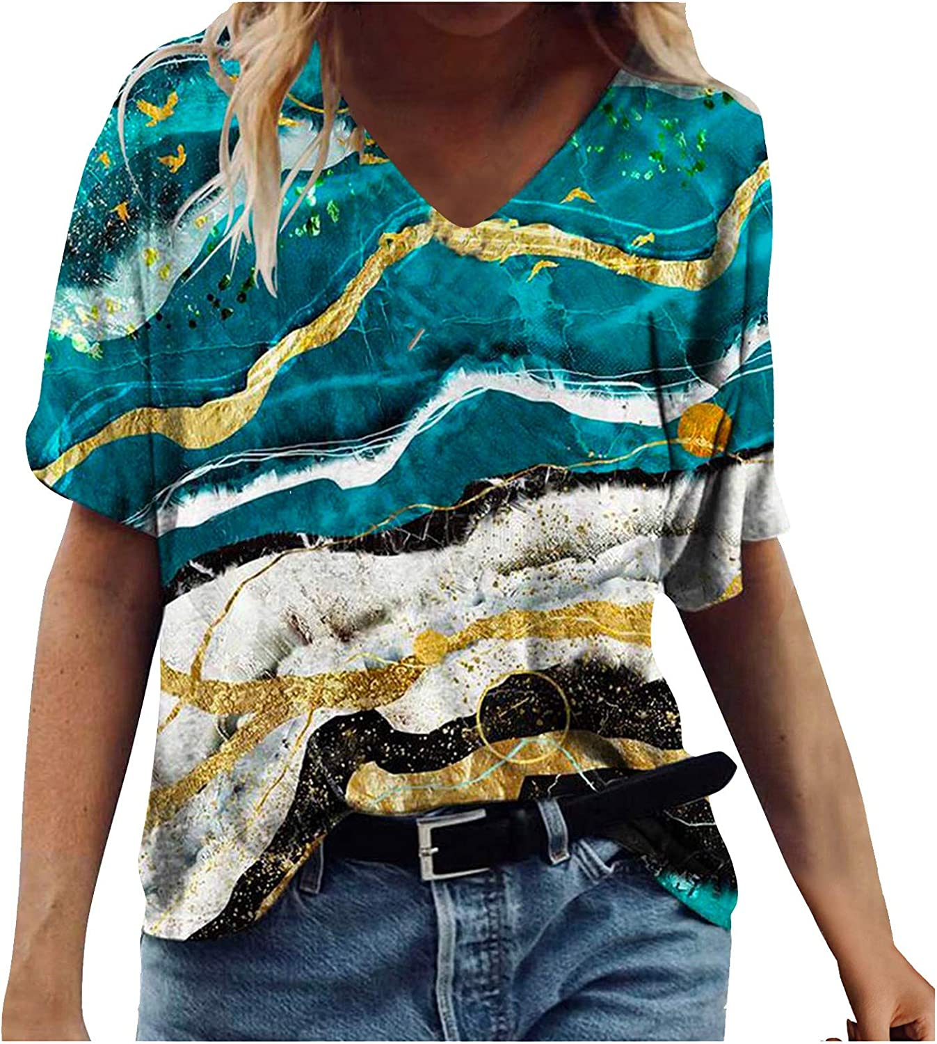 FABIURT Summer Tops for Women Short Sleeve Tunic Tops V Neck Gardient Floral Printed Tee Shirt Casual Loose Blouses Tops
