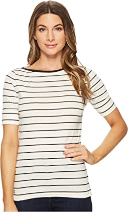 LAUREN Ralph Lauren Striped Cotton Boat Neck Top