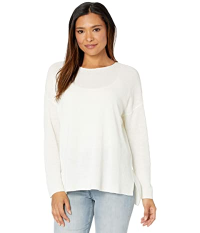 Eileen Fisher Organic Linen Cotton Crew Neck Top (White) Women
