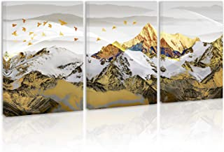 Golden Snow Mountain Wall Art Decor Landscape Canvas Painting Kitchen Prints Pictures for Home Living Dining Room