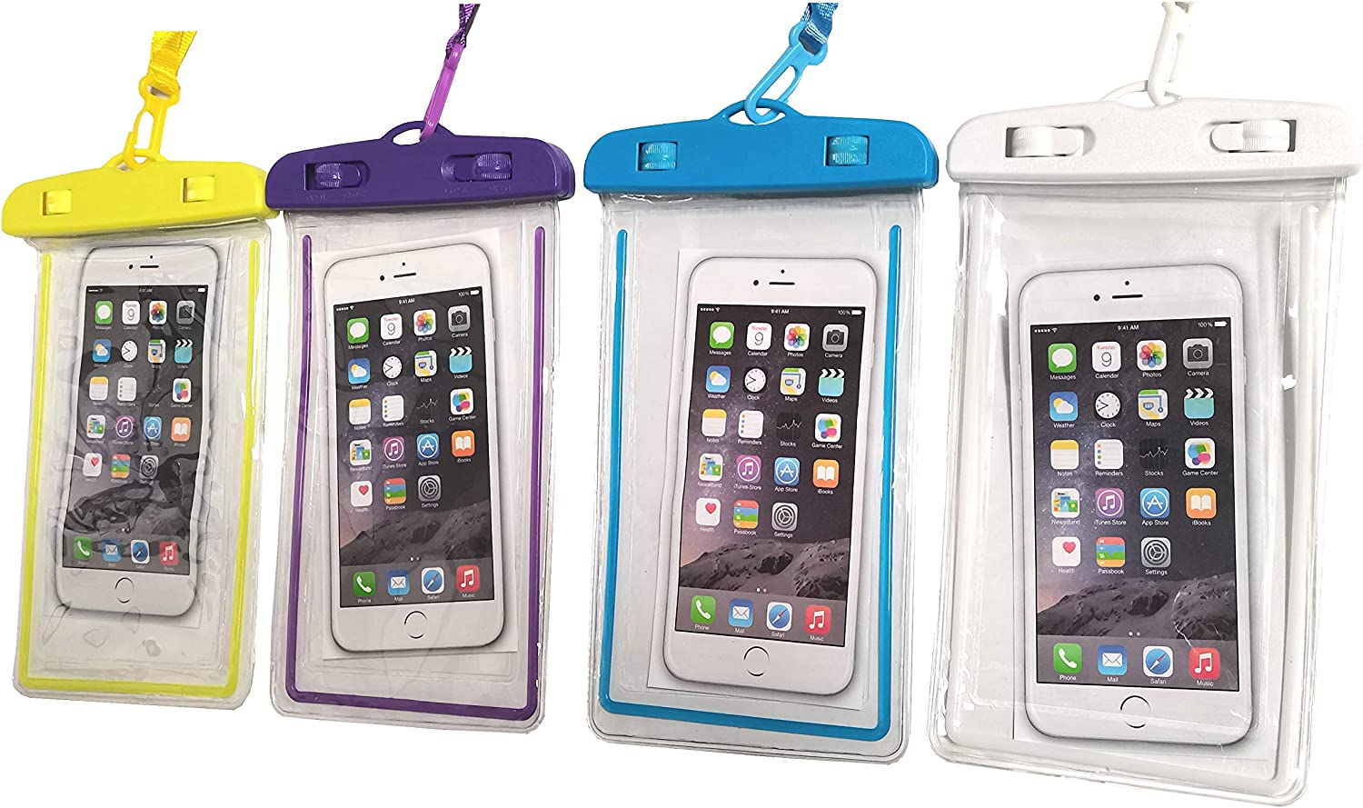 4 Packs Noctilucous Universal Waterproof Pouch Cellphone Dry Bag Underwater Case for Swimming, Boating, Fishing, Skiing, Rafting ,Beach Snorkeling etc (White+Purple+Yellow+Blue)