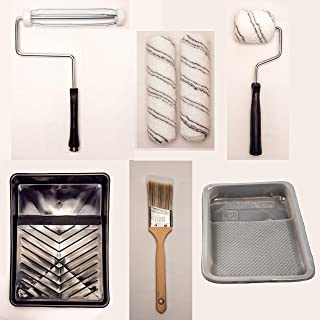 GBS Home Painting Kit 8 Pcs with Tray, Paint Roller, Paint Roller Cover, Angle Brush, Paint Tools for House, Walls, Room, Interior, Outdoor, Repair. For Professional and DIY users. Any Paint and Stain