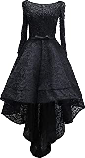Women's High Low Prom Dress with Beads Lace Sleeveless Evening Gown Black 20