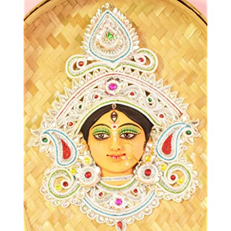 Bengal Handicrafts & handlooms Goddess of Power Maa Durga. Made of Terracotta & Shola on Bamboo Kulo. an Unique Wall Hanging Decorative Item. Durga Devi Idol. মা দূর্গা (14X10 Inch)