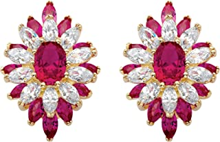 14K Gold-plated Floral Earrings (23x16mm) Oval Cut Simulated Red Ruby and Cubic Zirconia