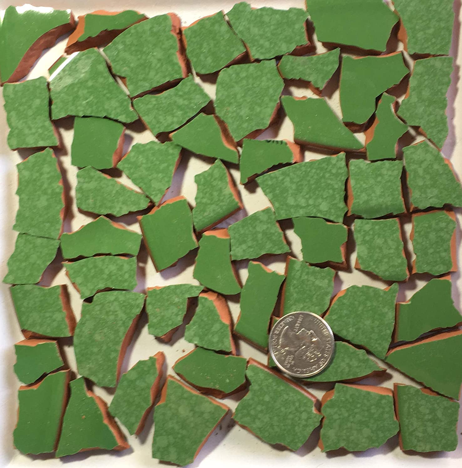 Mosaic Art & Craft Supply ~ Green on Red Clay Tiles (A760)