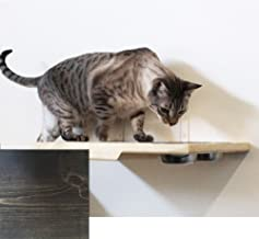 CatastrophiCreations Cat Dining Table Handcrafted Wall-Mounted Feeder Shelf,Onyx