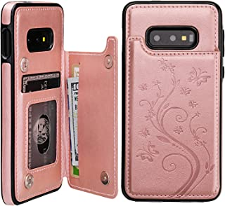 Vaburs S10e Case Wallet with Card Holder, Embossed Butterfly Premium PU Leather Double Magnetic Buttons Flip Shockproof Protective Case Cover for Samsung Galaxy S10e(Butterfly Rose Gold)