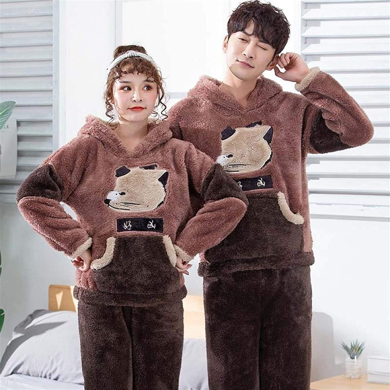 Bayue Unisex Adult Couple Pajamas Winter Warm Thickening Pajamas Set Cute Cartoon Home Clothes Hooded Sleepwear Female Pijamas Zhaozb (Color : Fox, Size : Men XL)