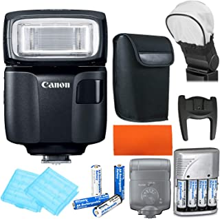 Canon Speedlite EL-100 Flash + Pouch + Speed Flash Bounce Diffuser + 4X AA Batteries and Charger and More