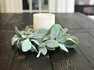 Lambs Ear Greenery Candle Ring Holder Wreath for Year Round, Spring, Springtime, Summer, Summertime, Rustic Farmhouse Home Decor, Wedding, Green, Handmade, 10