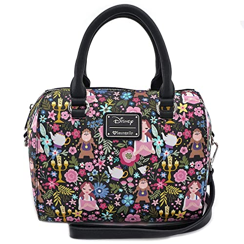 Loungefly x Beauty and the Beast Belle Floral Print Duffel Purse